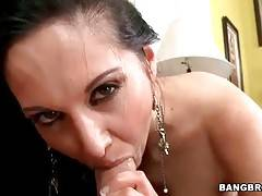 Ava Adams wraps her lips around partner`s thick boner.