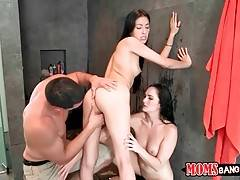 Cutie, her step mom and tough guy are caressing each other in bathroom.