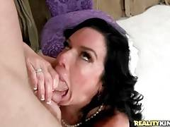 Awesome milf hungrily works her mouth at partner`s boner.