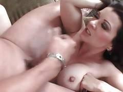 Raquel Devine gets her big boobs spunked after good pounding.