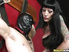 She knew who he was and she said she owned him now. She had him wear a new outfit and a mask. She tied him up and teased him. She unleashed him and had him munch on her sweet pussy. She got her pussy pounded and got that man juice all over her face.