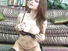 Slutty brunette milf hungrily swallows partner`s boner.