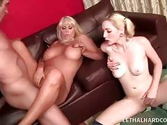 Busty booty milf and her daughter get pounded together.