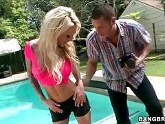 Amazing milf Sarah Jessie is very ready for erotic photo shoot.