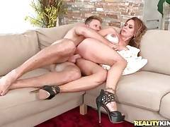 Levi Cash and hot milf Gabriela are making awesome love on couch.