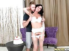 Milf in white lingerie and veil eagers to get fucked by stranger.